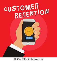 Writing note showing Customer Retention. Business photo showcasing Keeping loyal customers Retain many as possible