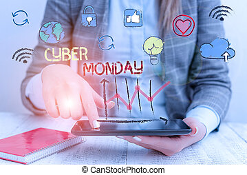 Writing note showing Cyber Monday. Business photo showcasing Monday after the Thanksgiving holiday Online shopping day.