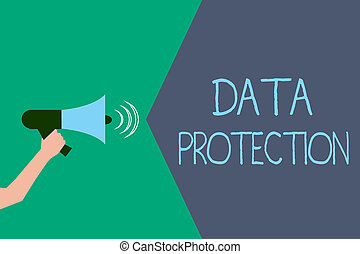 Writing note showing Data Protection. Business photo showcasing Protect IP addresses and personal data from harmful software