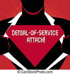 Writing note showing Denial Of Service Attack. Business photo showcasing Attack meant to shut down a machine or network Man Opening his Shirt to reveal the Blank Triangular Logo.