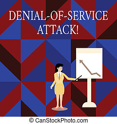 Writing note showing Denial Of Service Attack. Business photo showcasing Attack meant to shut down a machine or network Woman Holding Stick Pointing to Chart of Arrow on Whiteboard.