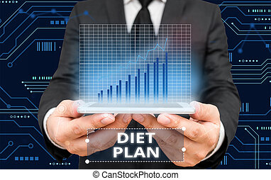 Writing note showing Diet Plan. Business photo showcasing detailed proposal for doing or achieving a heathy eating habit.