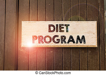 Writing note showing Diet Program. Business photo showcasing practice of eating food in a regulated and supervised fashion Empty white board for advertising. White space for text adding.