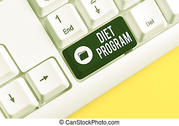 Writing note showing Diet Program. Business photo showcasing practice of eating food in a regulated and supervised fashion White pc keyboard with note paper above the white background.