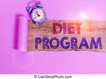 Writing note showing Diet Program. Business photo showcasing practice of eating food in a regulated and supervised fashion.