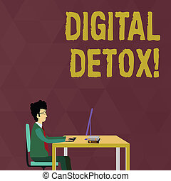 Writing note showing Digital Detox. Business photo showcasing period of time during a demonstrating stops from using gadgets Businessman Sitting on Chair Working on Computer and Books.