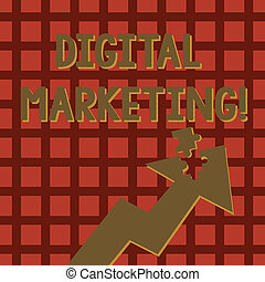 Writing note showing Digital Marketing. Business photo showcasing market products or services using technologies on Internet Arrow Pointing Up with Detached Part Jigsaw Puzzle Piece.