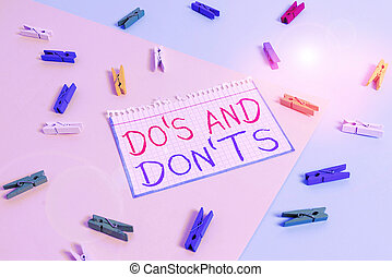 Writing note showing Do S And Don tS. Business photo ...