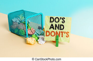 Writing note showing Do S And Dont S. Business photo ...
