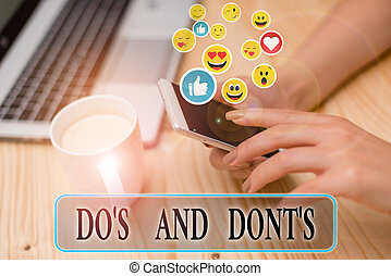 Writing note showing Do S Is And Dont S Is. Business photo ...