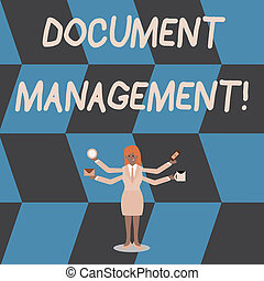 Writing note showing Document Management. Business photo ...