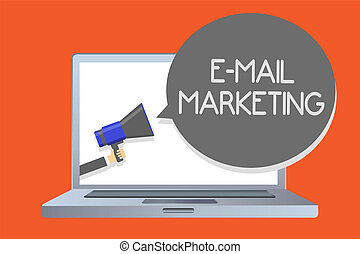 Writing note showing E Mail Marketing. Business photo showcasing E-commerce Advertising Online sales Newsletters Promotion Network message social media issue public speaker declare announcement