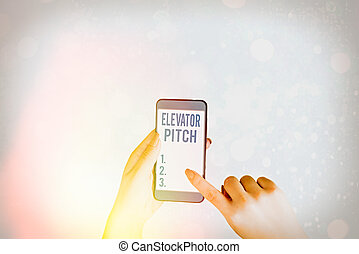 Writing note showing Elevator Pitch. Business photo showcasing A persuasive sales pitch Brief speech about the product.