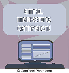 Writing note showing Email Marketing Campaign. Business photo showcasing Email sent to a potential or current customer Mounted Computer Screen with Line Graph on Desk Blank Color Text Box.