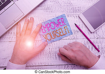 Writing note showing Empower Yourself. Business photo...