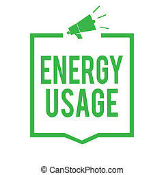 Writing note showing Energy Usage. Business photo showcasing Amount of energy consumed or used in a process or system Megaphone loudspeaker green frame communicating important information.