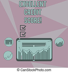 Writing note showing Excellent Credit Score. Business photo showcasing number that evaluates a consumer s is creditworthiness Digital Combination of Column Line Data Graphic Chart on Tablet Screen.