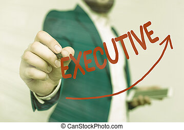 Writing note showing Executive. Business concept for belonging to the branch of government that is charged with powers Digital arrowhead curve denoting growth development concept