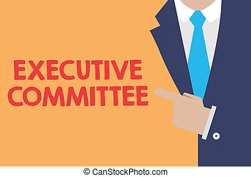 Writing note showing Executive Committee. Business photo...