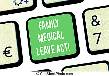 Writing note showing Family Medical Leave Act. Business ...