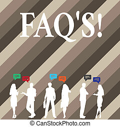 Writing note showing Faq S. Business photo showcasing Multiple questions answered for online product.