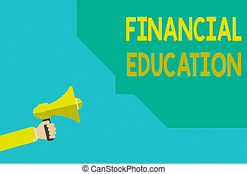 Writing note showing Financial Education. Business photo ...