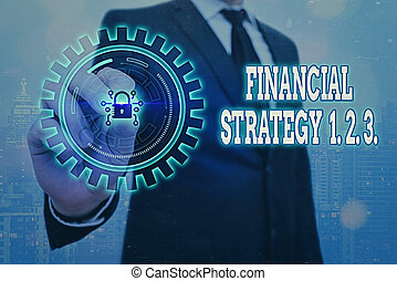 Writing note showing Financial Strategy 1 2. 3.. Business photo showcasing build on insights from a business context Graphics padlock for web data information security application system.