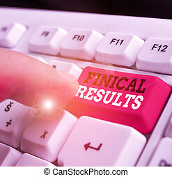 Writing note showing Finical Results. Business concept for written records that convey the business activities