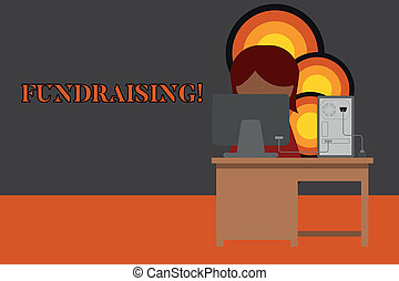 Writing note showing Fundraising. Business photo showcasing seeking to generate financial support for charity or cause Young female working in office computer office monitor photo.