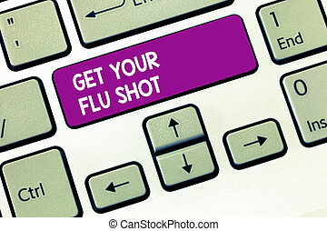 Writing note showing Get Your Flu Shot. Business photo showcasing Acquire the vaccine to protect against influenza.
