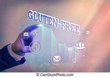 Writing note showing Gluten Free. Business concept for excludes the tenacious elastic protein substance of wheat flour Arrow symbol going upward showing significant achievement