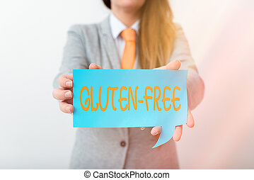 Writing note showing Gluten Free. Business concept for excludes the tenacious elastic protein substance of wheat flour Displaying different color mock up notes for emphasizing content
