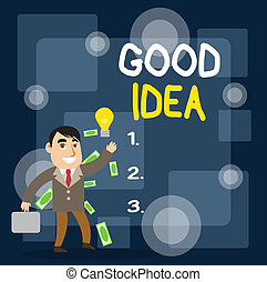 Writing note showing Good Idea. Business photo showcasing ...