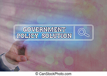 Writing note showing Government Policy Solution. Business photo showcasing designed game plan created in response to emergency disaster Web search digital information futuristic technology network connection.