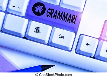Writing note showing Grammar. Business concept for whole system structure language syntax and morphology