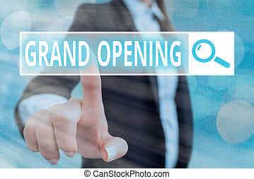 Writing note showing Grand Opening. Business photo showcasing Ribbon Cutting New Business First Official Day Launching.