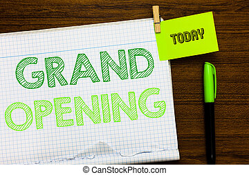 Writing note showing Grand Opening. Business photo showcasing Ribbon Cutting New Business First Official Day Launching Open notebook page markers holding paper heart wooden background.