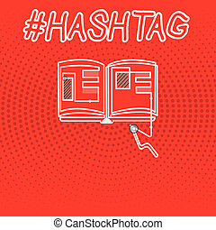 Writing note showing Hashtag. Business photo showcasing Internet tag for social media Communication search engine strategy
