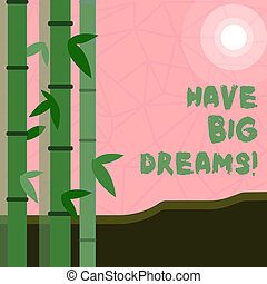 Writing note showing Have Big Dreams. Business photo showcasing Future Ambition Desire Motivation Goal.
