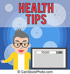 Writing note showing Health Tips. Business photo showcasing advice or information given to be helpful in being healthy Male Speaker Monitor with Search Tool on Screen Presentation or Report.