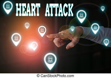 Writing note showing Heart Attack. Business photo showcasing sudden and sometimes fatal occurrence of coronary thrombosis Woman wear formal work suit presenting presentation using smart device.