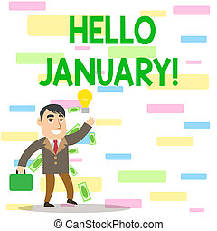 Writing note showing Hello January. Business photo ...