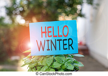 Writing note showing Hello Winter. Business photo showcasing...