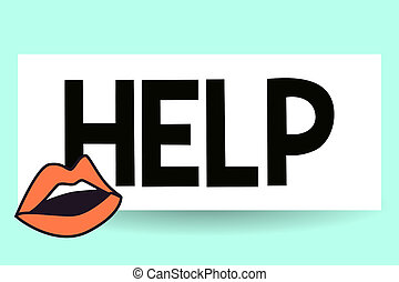 Writing note showing Help. Business photo showcasing The action of helping someone to do something Improve a situation