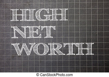 Writing note showing  High Net Worth. Business photo showcasing having high-value Something expensive A-class company Graph paper grey messages thoughts ideas information important math.