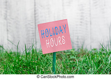 Writing note showing Holiday Hours. Business photo showcasing employee receives twice their normal pay for all hours Plain paper attached to stick and placed in the grassy land.