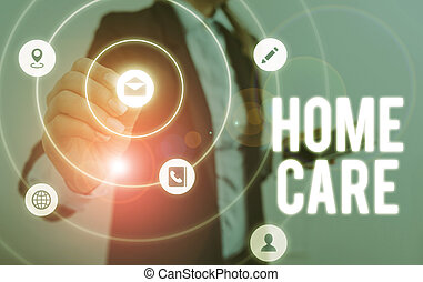 Writing note showing Home Care. Business photo showcasing Place where showing can get the best service of comfort rendered.