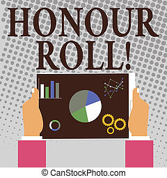 Writing note showing Honour Roll. Business photo showcasing...