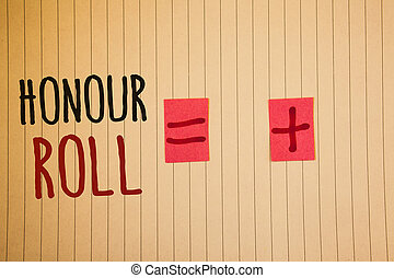 Writing note showing Honour Roll. Business photos showcasing...