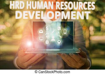 Writing note showing Hrd Huanalysis Resources Development. Business concept for helping employees develop demonstratingal skills
